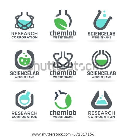 Laboratory design elements, chemistry, medicine, science - vector test tubes, chemical flasks, liquids