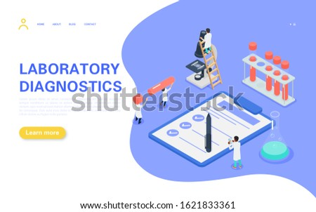 Laboratory diagnostic banner concept. Tiny people carry a test tube with blood, medical personnel study the tests and record the results. Flat vector isometric illustration.
