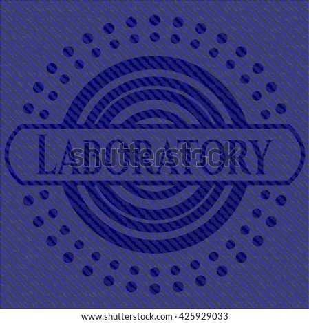 Laboratory emblem with denim high quality background