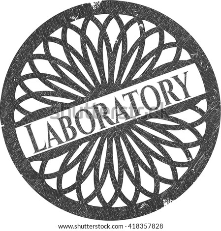 Laboratory emblem with pencil effect