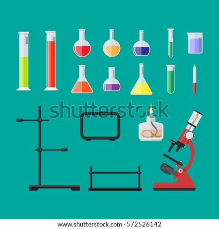 Laboratory equipment, jars, beakers, flasks, microscope, spirit lamp, pipette, biology science education medical vector illustration in flat style