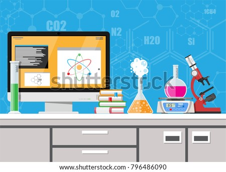 Laboratory equipment, jars, beakers, flasks, scales, microscope and pile of books. Computer with software. Biology science education medical. Vector illustration in flat style