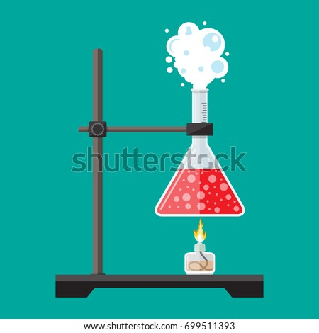 Laboratory equipment, jars, beakers, flasks, spirit lamp . Chemical reaction. Biology science education medical. Vector illustration in flat style