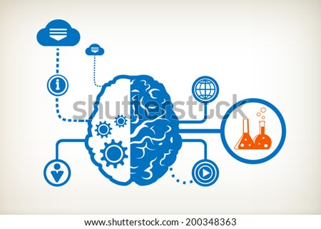 Laboratory flask and abstract human brain, the concept of the information movement