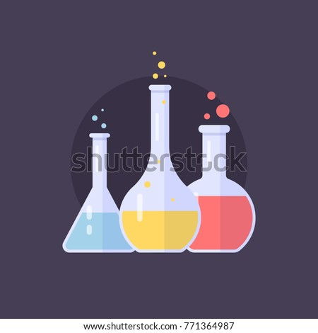 laboratory glass flasks and