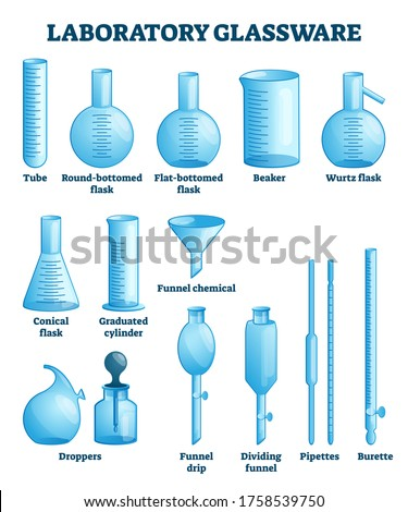 Laboratory glassware vector illustration. Labeled science equipment set. Chemistry, physics or pharmacy lab glass tools. Tube, flasks, beaker, funner, dropper or pipettes educational visual comparison