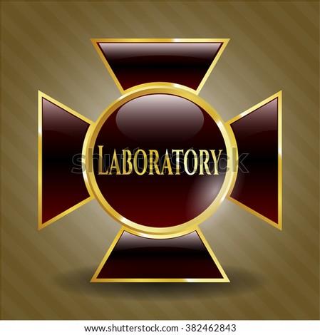 Laboratory gold badge or emblem