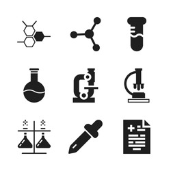 laboratory icon. 9 laboratory vector icons set. test tube, molecular bond and dropper icons for web and design about laboratory theme