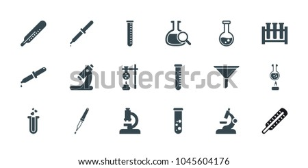 Laboratory icons. set of 18 editable filled laboratory icons: thermometer, test tube, microscope, heart test tube, pipette, filter