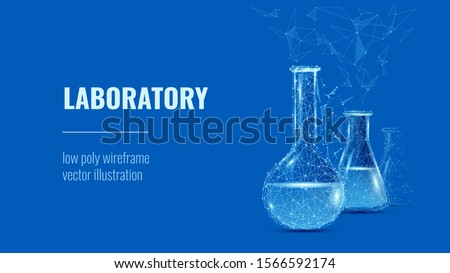 Laboratory. Lab glassware and test tubes in chemical or medical laboratory background or polygonal banner. Low poly wireframe vector illustration.   Chemistry poster banner template with copy space.