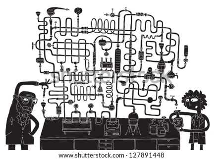 laboratory maze game in black