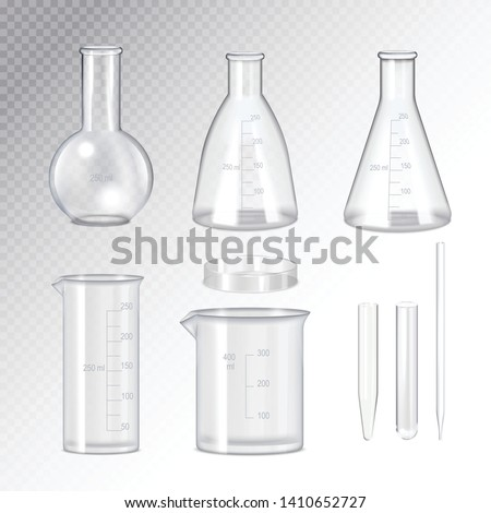 Laboratory quality scientific glassware collection realistic set with test tubes flasks beaker transparent background isolated vector illustration