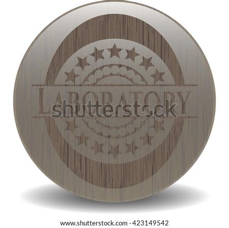 Laboratory realistic wood emblem