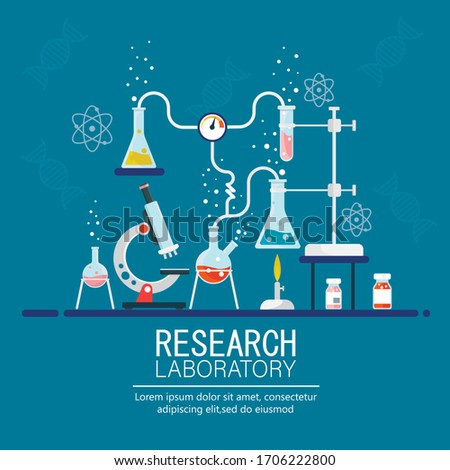 Laboratory Research. Medical Research. Testing of vaccine. Vaccine of coronavirus .Chemists scientists equipment. Vector illustration