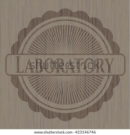Laboratory retro style wooden emblem