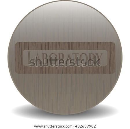 Laboratory retro wooden emblem