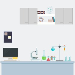 Laboratory science research background. research data science in lab concept. vector illustration science background.