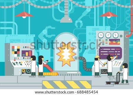 laboratory scientific experiment scientists work control panel analysis production development study technology business flat design concept illustration
