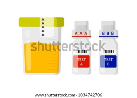 Laboratory test for doping. Concept for the maintenance of medicines in urine of athletes. Containers for doping analysis flat vector illustration. Capacity for urine and capacity A and B.