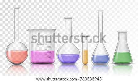 Laboratory transparent glassware instruments with reflect. Filled equipment for chemical lab in realistic style. Beaker and flask, chemical glass transparent for lab. Vector illustration