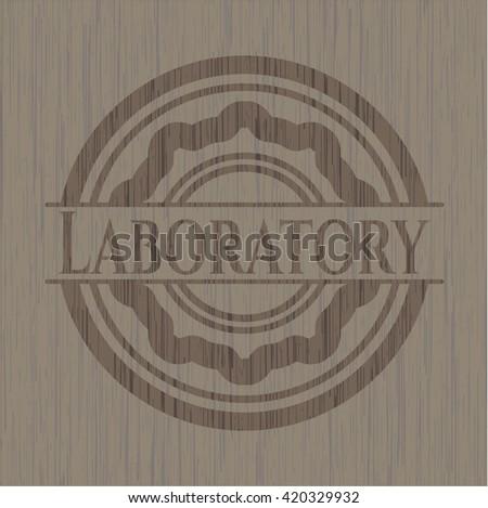 Laboratory wooden emblem. Retro