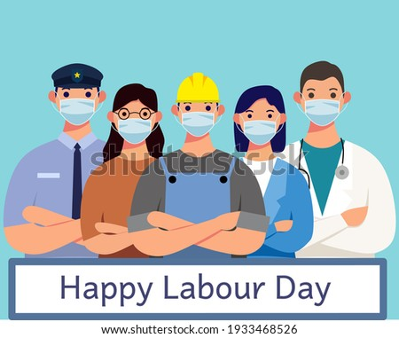Labour day poster with people of different occupations wearing a medical mask isolated on blue background – Labour Day Flat Design.