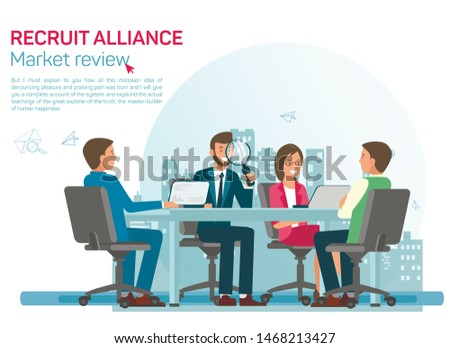 Labour Market Review Flat Vector Banner Template. Recruiting Alliance Job Search Services Advertising. HR Experts Analysing Relevant Candidates, Selecting Suitable Applicants at Interview