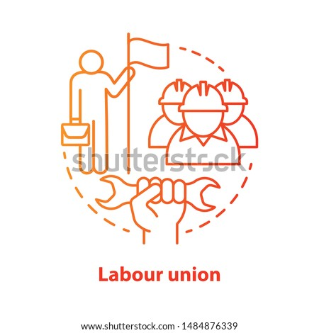 Labour union red concept icon. Employee right protection idea thin line illustration. Trade union. Workers association. Staff interests representative. Vector isolated outline drawing. Editable stroke