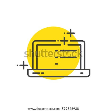 Labtop Advertisement, marketing icons yellow mark
