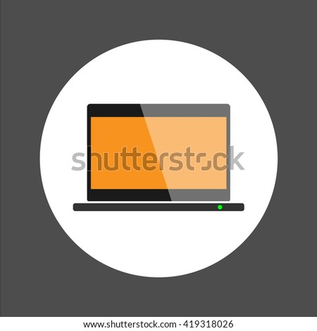 Labtop icon ,flat design vector illustration