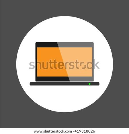 Labtop icon ,flat design vector illustration