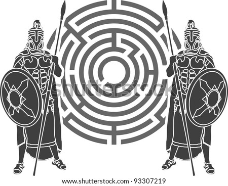 labyrinth and guards. stencil. vector illustration