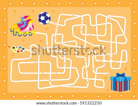 labyrinth.gift. find that is in the box.cartoon vector with editable layers