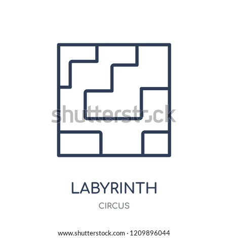 Labyrinth icon. Labyrinth linear symbol design from Circus collection. Simple outline element vector illustration on white background.