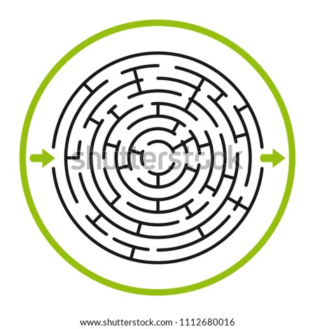 Labyrinth in vector. Labyrinth with entrance and exit. Find the exit concept. Vector illustration. Find the way