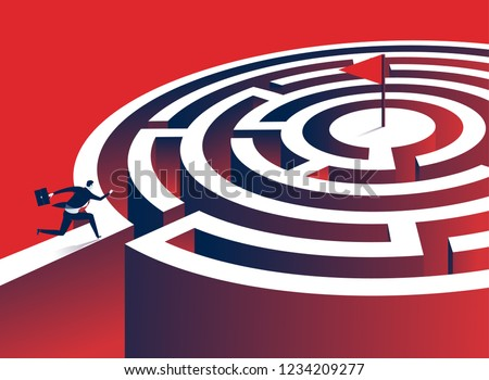 Labyrinth. Manager runs to the goal in the middle of the circle labyrinth. Concept business illustration