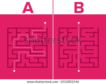 Labyrinth, maze shape design element.