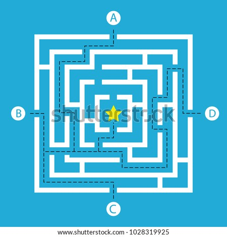 Labyrinth shape design element. Four entrance, one destination and one right way to go. But many paths to deadlock.