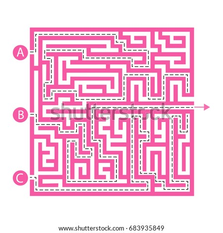 Labyrinth shape design element. Three entrance, one exit and one right way to go. But many paths to deadlock.