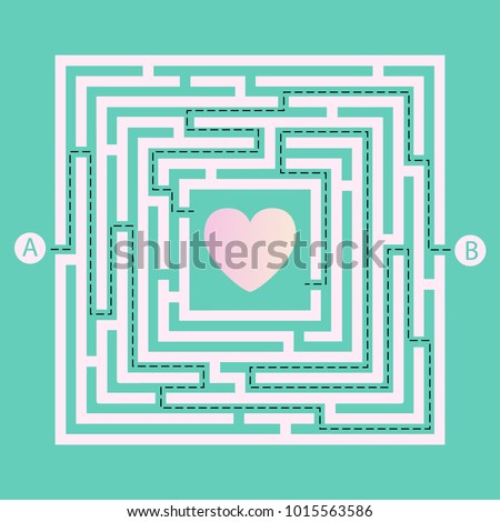 Labyrinth shape design element. Two entrance, two way to get heart in maze / labyrinth but many paths to deadlock.