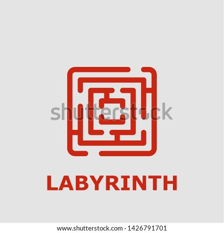 Labyrinth symbol. Outline labyrinth icon. Labyrinth vector illustration for graphic art.
