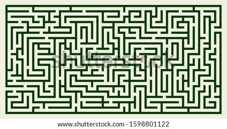 Labyrinth vector rectangle shape. Maze (labyrinth) game illustration Stock photo ©