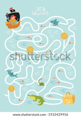 Labyrinths. Find the treasure. The pirate is looking for a treasure. A game for children. Stock photo ©