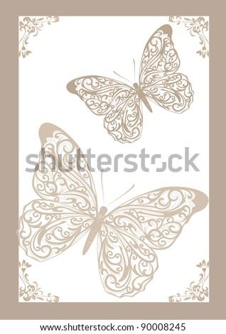 lace butterflies vector - stock vector