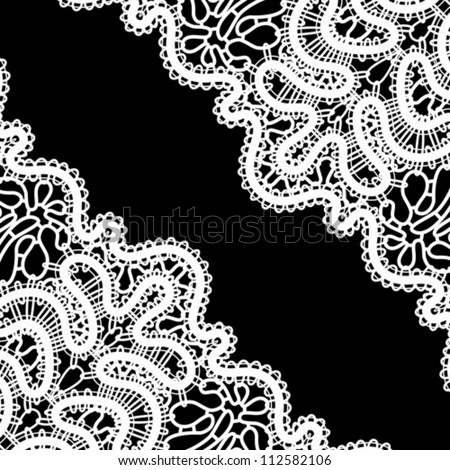 Lace corner on black, vector monochrome background in retro style