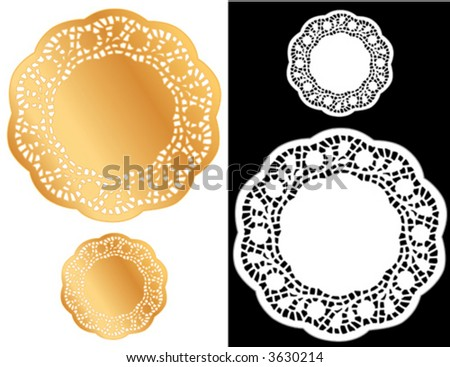 Lace Doilies, vintage pattern, antique design gold and white round place mats for Christmas, holiday celebrations, scrapbooks, albums, setting table, cake decorating, copy space. EPS8 compatible.