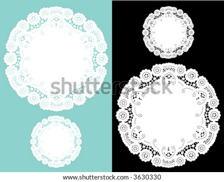 Lace Doilies, vintage pattern, antique design, small and large round place mats for Christmas, holiday celebrations, scrapbooks, albums, setting table, cake decorating, copy space. EPS8 compatible.