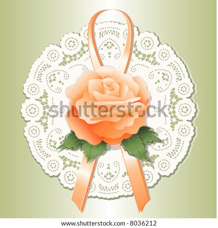 Lace Doily, antique vintage design pattern, apricot Rose, ribbon. Victorian style gift ornament for holidays, Valentines Day, Mothers Day. White isolated on pastel green background, EPS8 compatible.