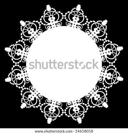 Lace doily circular border pattern with solid center. One continuous path for easy color change.