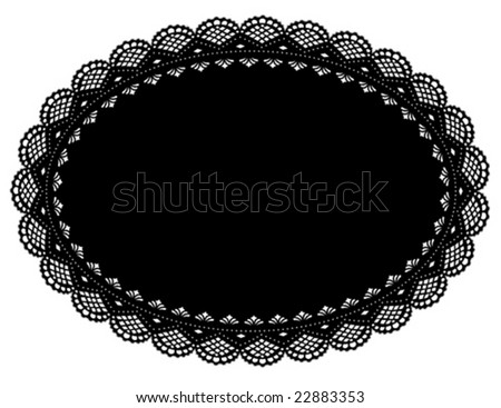 Lace Doily Place Mat, vintage design pattern. Antique oval scalloped border, black oval background for setting table, holidays, celebrations, scrapbooks, cake decorating, arts, craft. EPS8 compatible.